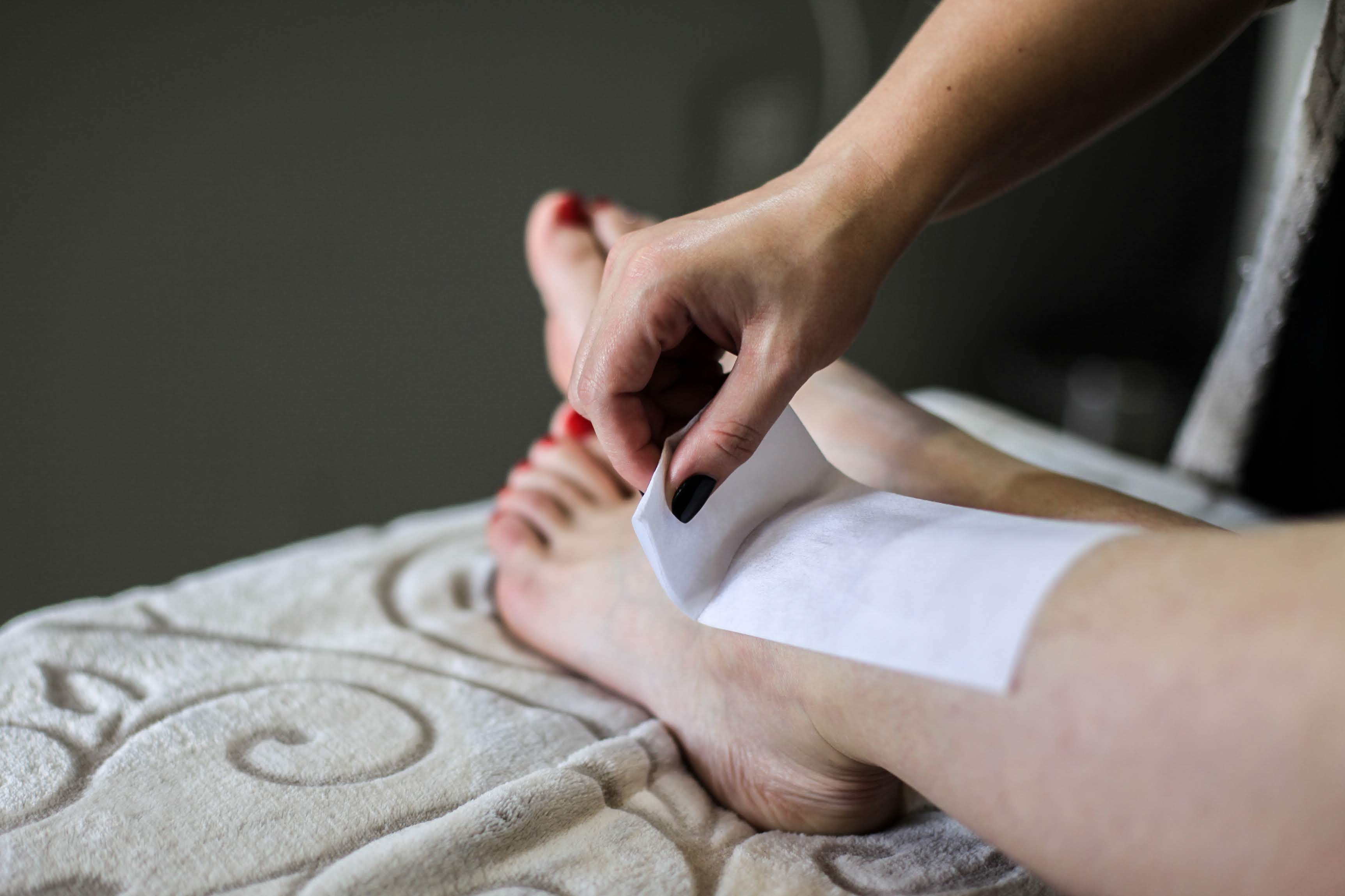 Leg Wax Being Done